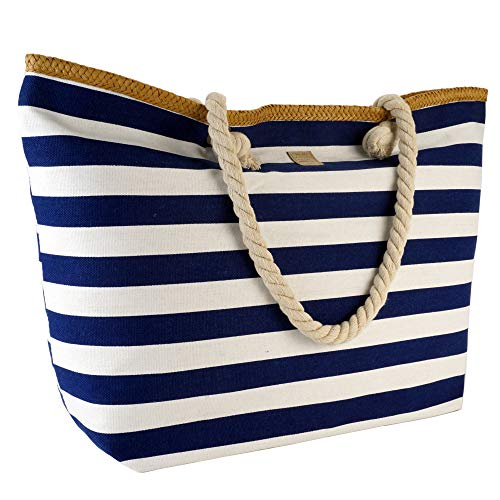 43d69bde362db Strandtasche XL Shopper Einkaufstasche blau weiß gestreift Maritim Look  Umhängetasche Damentasche