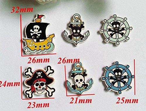 10 botones barco timon y pirata bandera calavera 3.2 x 2.6 cm de...