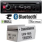 LKW Bus Truck 24V 24 VOLT - Kenwood KDC-BT500U - Bluetooth CD/MP3/USB Autoradio - Einbauset