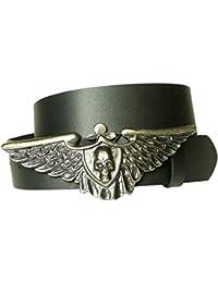 7aa6f7989a86ba Fronhofer Günstiger Ledergürtel, Bikergürtel in schwarz, Flügel-Totenkopf- Gürtelschnalle, Gürtel aus…