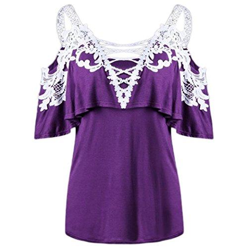 ESAILQ Damen Spitzennähte Schal Tau Schulter Overlay Applique T-Shirt Tops Bluse (Lila, XL) (Mit Satin-kleid Spitzen-overlay)
