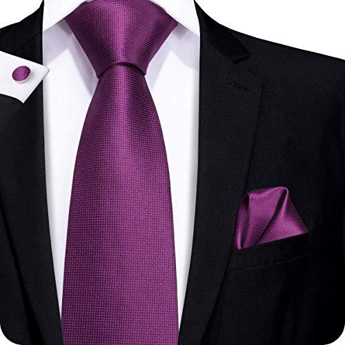 CAOFENVOO Cravate Hanky Cufflinks solides Jacquard en soie tissée cravate de soirée de mariage une affaire d'hommes (Violet)