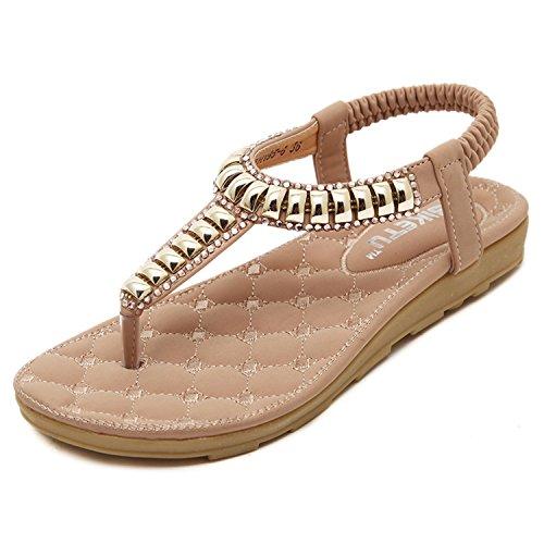 dqq Femme T sur String Perles Plat Sandales Rose - Pink 195