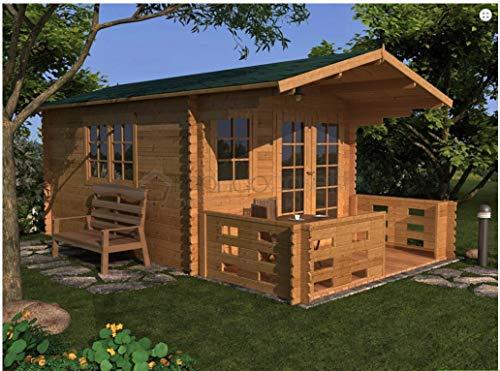 Mondocasette Casa Gartenhaus aus Holz - Modell Bologna Wandstärke 28mm 3X4m, aus Holz