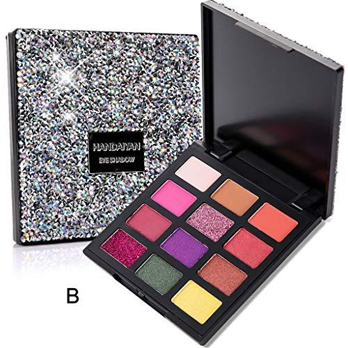wyxhkj Ombre à paupières Ombre à paupières mat cosmétique crème palette de maquillage Shimmer Set 12 couleurs fard à paupières (B)