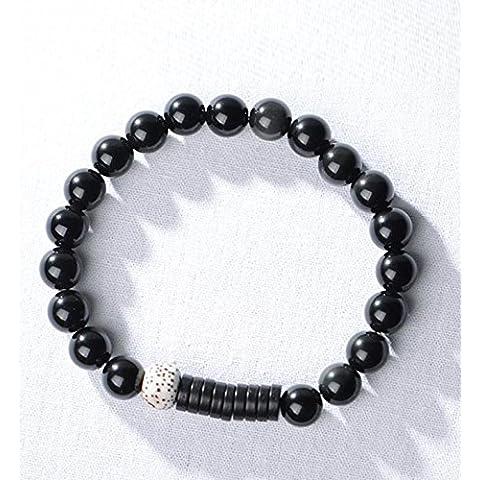 Suya, hecha a mano, mano, Obsidiana, con la luna y estrellas Bodhi, con corteza de coco, pulseras, joyas, fresco, Classic Retro Estilo chino, regalo creativo, 13cm