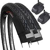 Fincci Set Paar 26 x 2,125 Zoll 57-559 Slick Reifen mit Autoventil Schläuche für Cityräder Rennräder Mountain MTB Hybrid Fahrrad (2er Pack)