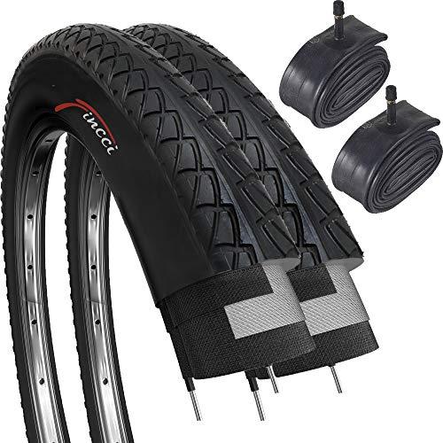 Fincci Paar Slick Road Mountain Hybrid Bike Fahrrad Reifen 26 x 2,10 56-559 und Autoventil Schläuche