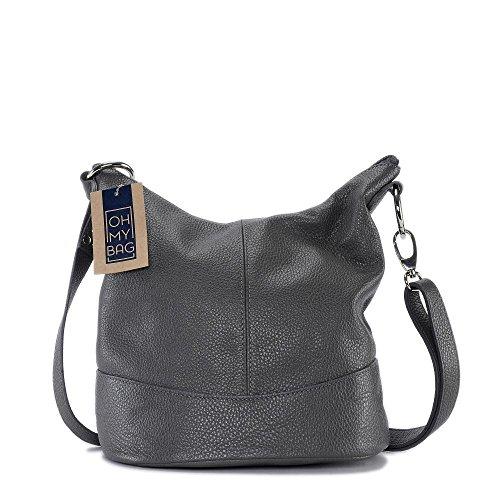 OH MY BAG - borsa a tracolla di pelle modello Beaubourg grigio scuro