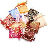 TR.OD 50x Organza Silk Jewellery Gift Sugar Coins Seeds Storage Pouch Bags Size 7x9cm