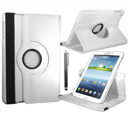Fall mit 360° Drehbar Action und gratis Displayschutzfolie/Stylus Touch Pen für 17,8cm Samsung Galaxy Tab 3T210/T211/P3200/P3210/Kids Edition-Weiß ()