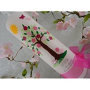 Taufkerze Lebensbaum braun grün rosa mit Sonne Wachsmotiv Taufkerzen für Mädchen 250/70 mm mit Name und Datum