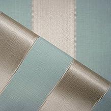 Porchester 'rococó raya azul': Beige y azul damasco tapicería de sofá cojín tela retardante de llama Material de telas Loome, Porchester 'Rococo Blue Stripe' : Cream And Blue, 10 x 14 cm sample