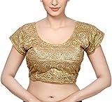 #9: MSM Women's Art Silk Saree Blouse (Gold, 36)