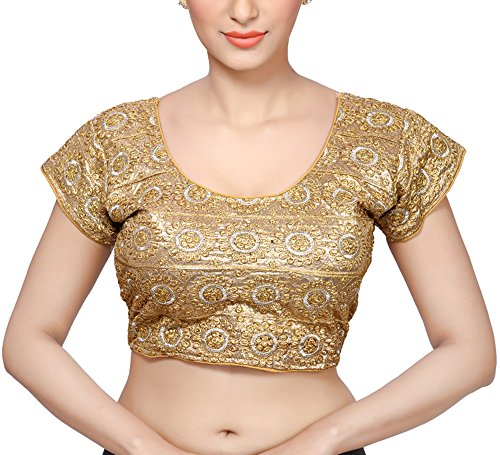 MSM Women's Art Silk Saree Blouse (Gold, 36)