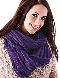 Ladies Purple Glitter Ribbed Knit Snood Warm Winter Scarf Hood Neck Warmer Cowl