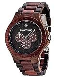 Multifunktions-Uhr GREENTREEN Mann Bewegung mit roten Sandelholz Ebenholz Uhren 5ATM wasserdicht