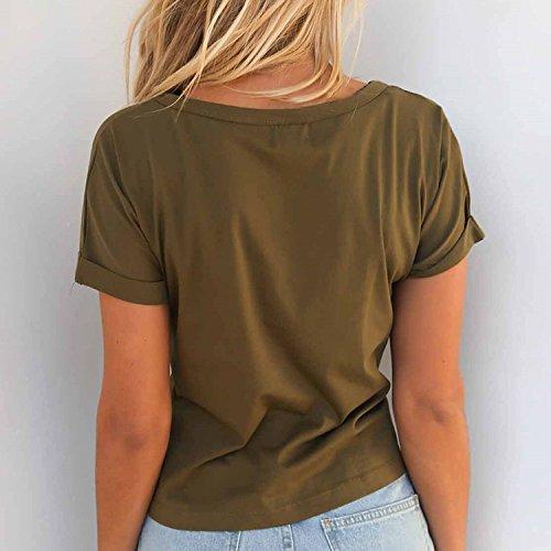semen Femme T-Shirt Manche Court Slim Elégant Top Uni Basique Blouse Mode Casual à Lacet Vert armée
