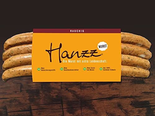 Hanzz Wurst rauchige Bratwurst - Grillwurst: 4 x Gourmet Wurst mit 81 % Fleischanteil ohne Konservierungsstoffe und Geschmacksverstärker.