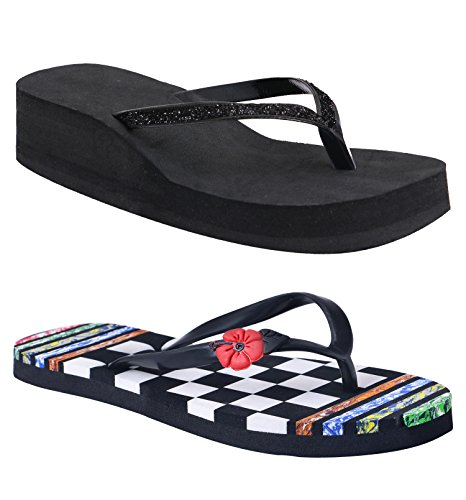 HD Multi Colour Hawai Chappal Free Black Heel Slipper  available at amazon for Rs.349