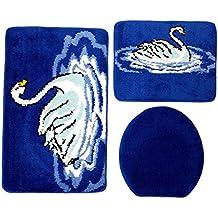 Badgarnitur 3 Teilig Blau Weiß, Motiv Schwan, Badteppich Mit WC Vorleger Für