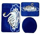 Badgarnitur 3-teilig blau weiß, Motiv Schwan, Badteppich mit WC-Vorleger für Hänge-WC, 80 x 50cm (große Matte), 50x40cm (kleine Matte)