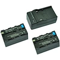 MP power ® 2X Remplacement Batterie NP-F750 NPF750 NP-F770 NP-F730 F730H 4600mah 7,4V + chargeur pour Sony HD-RFX1, HV-RZ1U, MVCCD-1000 TR7000