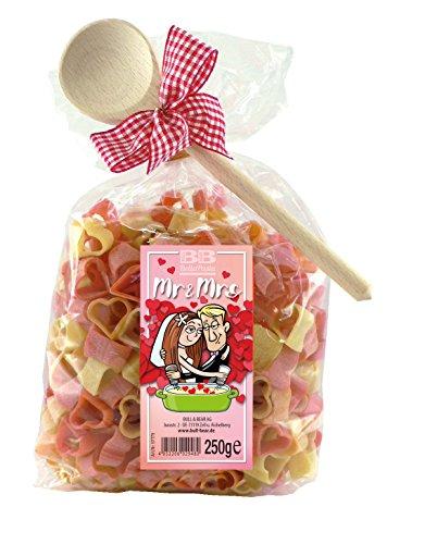 Pasta Präsent Mr. & Mrs. mit bunten Herznudeln handgefertigt in deutscher Manufaktur