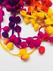 eerafashionicing Cotton Pompom Lace Border for Dresses/Craft/Home Furnishings, 10m (Multicolour, LAC113)