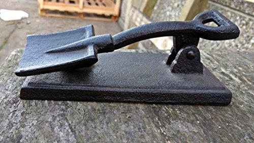Precioso hierro fundido aldaba para puerta en forma de pala–Ideal para su puerta, galpón y lavadero.