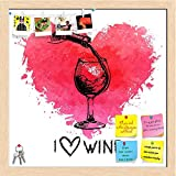 ArtzFolio Wine With Splash Watercolor Heart Printed Bulletin Board Notice Pin Board cum Natural Brown Framed Painting 12 x 12inch