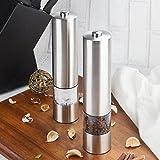 Elektrische Salz und Pfeffermühle Set 2 PCS Automatische elektrische Salz- oder Pfeffermühle-Mühle-Satz Edelstahl Elektronisches Leuchtendes Elektrische Gewürzmühle Mühlen-Set mit verstellbarem Grobheit