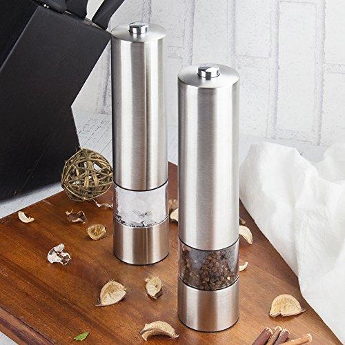 Virklyee Elektrische Salz und Pfeffermühle Set 2 PCS Automatische elektrische Salz- oder Pfeffermühle-Mühle-Satz Edelstahl