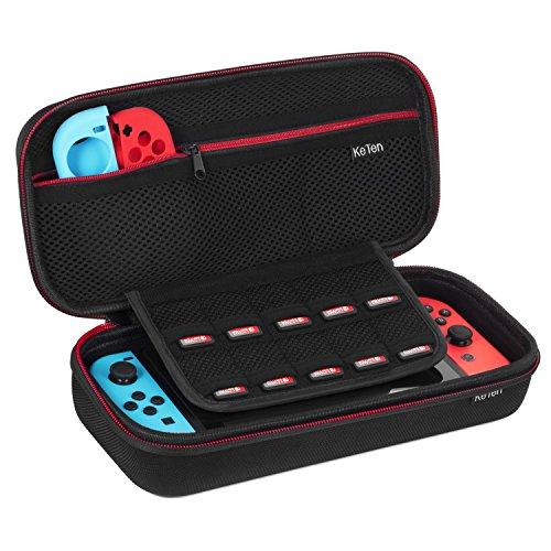Nintendo Switch Funda, Keten Estuche de Transporte de Consola Nintendo Switch, Joy-Con y Accesorios [Última Versión] Carcasa Dura de Viaje Bolsa de Almacenamiento con Soporte Para 10 Cartuchos de Juegos