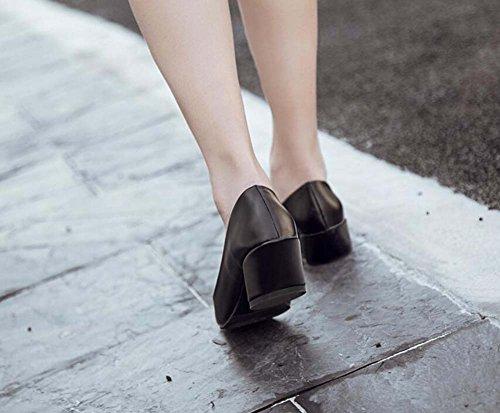 Pompe 5 Cm Chunky Talon Carré Mi-talons Sandales Chaussures Nu Décontracté Chaussures Femme Chaussures Pure Couleur Ol Court Chaussures Eu Taille 35-39 Noir
