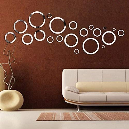 WALPLUS Spiegel Wall Art Rund Aufkleber Abnehmbare Wandbild Aufkleber Vinyl Home Dekoration DIY Living Schlafzimmer Décor Kids, Silber