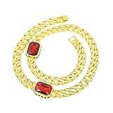 Aienid Halskette Vergoldet Halskette für Männer 2 Rubin CZ Gold Kettenlänge:76.2CM