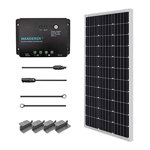 asic-Starter Bausatz mit 100W 12V Monokristallin Solarmodul, Solarkabeln und 12V PWM SolarLaderegler Negativ-Erdung ()