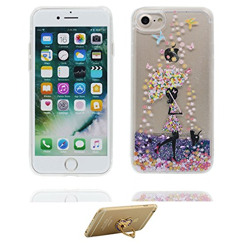 "iPhone 7 Plus Coque, Skin Hard Clear étui iPhone 7 Plus, Design Glitter Bling Sparkles Shinny Flowing Apple iPhone 7 Plus Case Cover 5.5"", (Licorne cheval unicorn) résistant aux chocs et ring Support # 2"