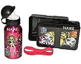 Unbekannt 2 tlg. Set: Lunchbox / Brotdose + Trinkflasche - Monster High - Incl. Namen - Brotbüchse Küche - Aluflasche für Frühstück / Mädchen Schule Kindergarten - Draculaura - Lunchtasche