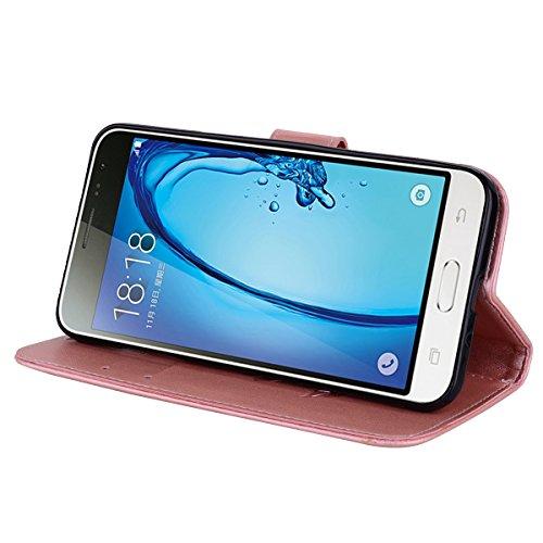 Coque Samsung J3 (2016) Anfire Fleur Motif Peint Mode Coque PU Cuir pour Galaxy J3 (2016) Etui Case Protection Portefeuille Rabat Étui Coque Housse pour Samsung Galaxy J3 / J3 (2016) / SM-J320FN (5.0  Rose