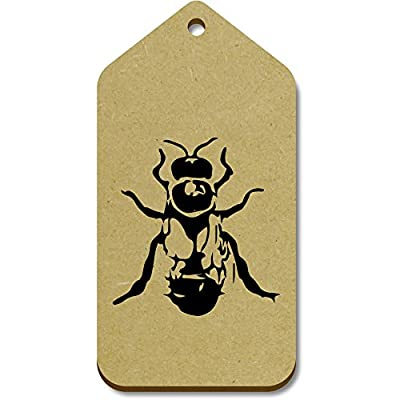 10 x Large 'Drone Bee' Wooden Gift / Luggage Tags (TG00018625)