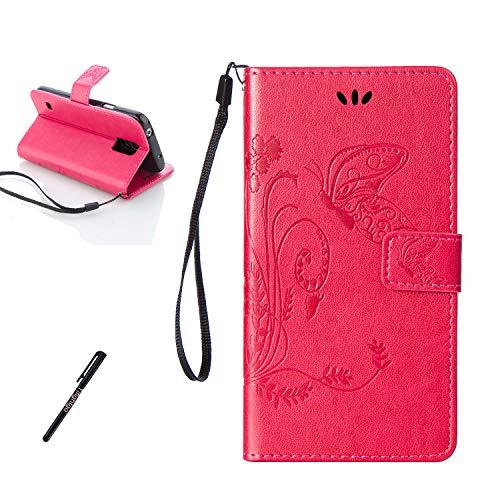 Tifightgo Samsung Galaxy S5 Mini Leder Hülle,Rose Rot Schmetterling Blumen Prägung Ledertasche Kartenfach Standfunktion Klapphülle Handyhülle Schutzhülle Flip Brieftasche für Samsung Galaxy S5 Mini