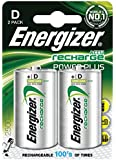Energizer 635675 Rechargeable D Battery, 2500 mAh - Silver, Pack of 2