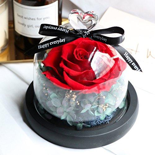 Ornements,Boîte de cadeau fleur éternelle Décoration de diy de couverture de verre Roses Fleurs Le jour de noël Anniversaire-C 12.5x13cm(5x5inch)