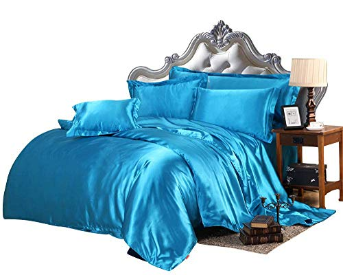 Sunshine Betten Luxus, Seidig satin3-pc Bettbezug Set Wird in Full/Queen Türkis/Blau (Queen-bett-sets, Türkis)
