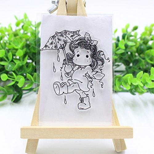 Mädchen mit Regenschirm DIY Clear Stempel-Set, transparent - Kartenherstellung und Kunst - Beste Halloween-Thanksgiving-Weihnachtsgeschenke -