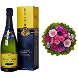 Monopole Heidsieck Blue Top Brut Champagner + Blumenstrauß Magic