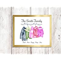 GFC personalised family coat pegs new home print a4 gloss UNFRAMED gift please message details once purchased