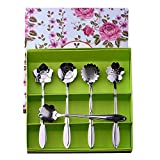 Regalos Flores Y Alimentos Best Deals - Cucharas cafe, Cozyswan Cucharas de té Elegancia conjunto de la cuchara flores con una caja de regalo